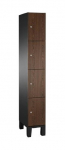 Locker CP Select S6000, 1-koloms, 4-deurs, 30 cm breed, houtdecor